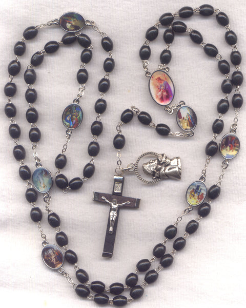 7 Joys of Mary Franciscan Crown Black Novena Beads  FR02