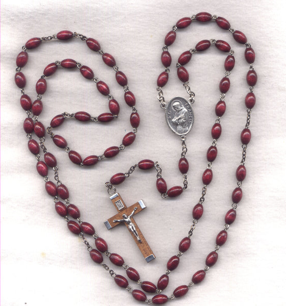 Joys of Mary Franciscan Crown Brown Novena Beads hand made  FR05