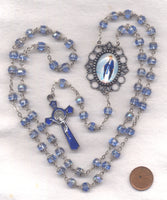 Our Lady of Grace Double Capped AB Sapphire Crystal FanC08