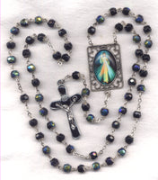 Divine Mercy Double Capped Black AB Crystal FanC10