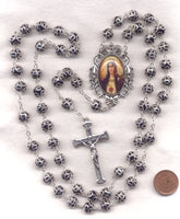 Immaculate Heart of Mary Fancy Double Capped Black Crystal FanC11