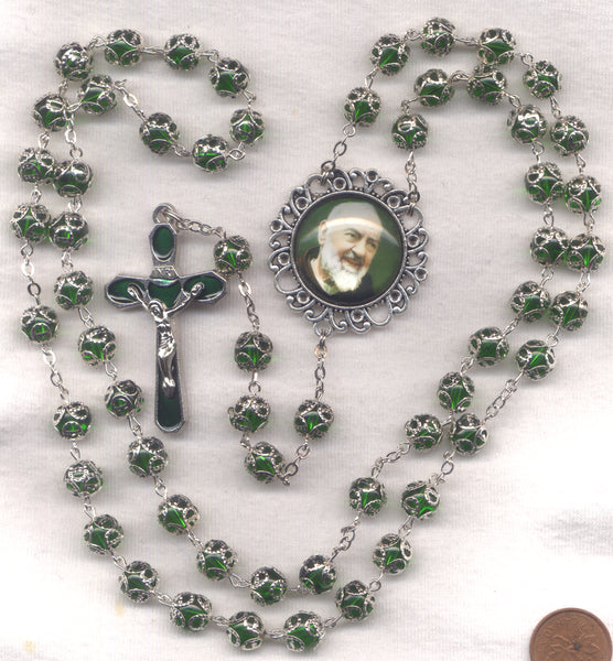 St Padre Pio Fancy Double Capped Emerald Crystal FanC12