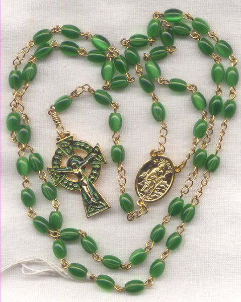 St Patrick Rosary Emerald Green Cat's Eye Glass Bead Celtic Rosary GR01