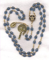 Holy Spirit Confirmation Rosary Blue embossed beads GR01