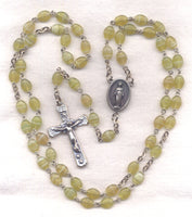 Miraculous Medal Rosary Chiffon Green Stripe Glass Oval Bead GR02