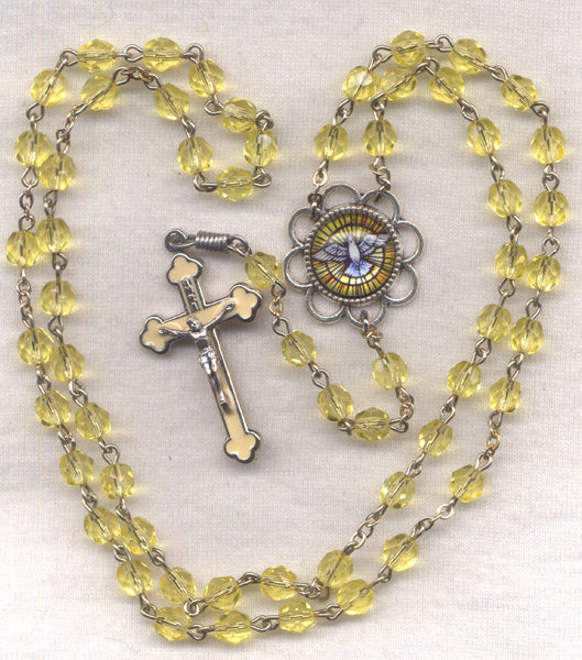 Holy Spirit Confirmation Rosary Yellow Faceted Crystal Beads GR05