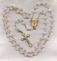 First Communion Rosary Milky White AB Crystal Beads GR07