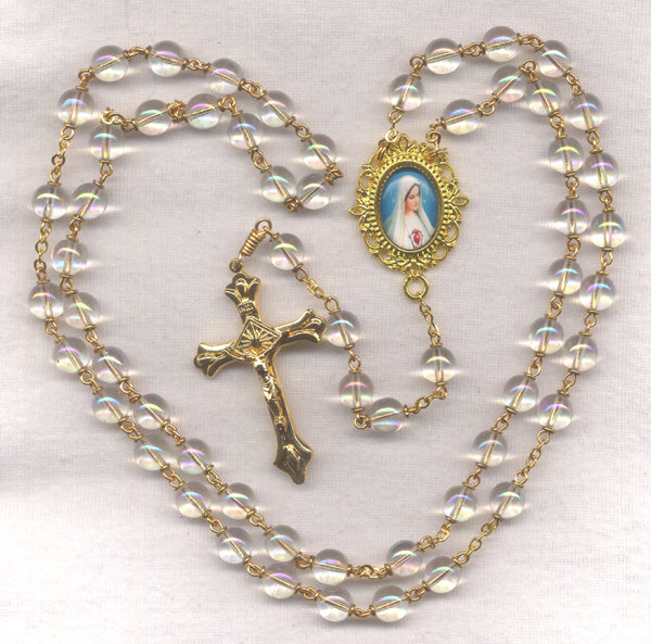 Immaculate Heart of Mary Rosary AB Crystal Beads Pilgrim Virgin GR10