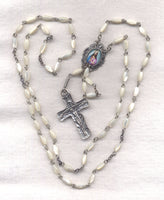Sacred Heart of Jesus Rosary Genuine Mother of Pearl Beads  GR18