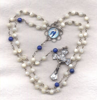 Our Lady of Grace Rosary Genuine Mother of Pearl Beads  Lady in Blue GR12