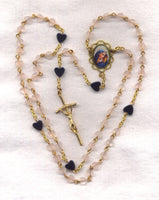Mother of Sorrows Rosary Genuine Rose Quartz and Hematite Heart Beads GR14