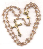 First Communion Rosary Smoke Pink AB Crystal Beads GR15