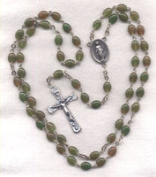 Miraculous Medal Rosary Midsummer Green Stripe Glass Oval Bead GR16