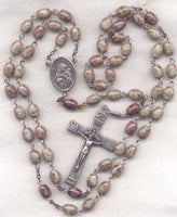St Joseph Rosary Marbled Brown Glass Bead Men's Patron Saint Rosary GR19