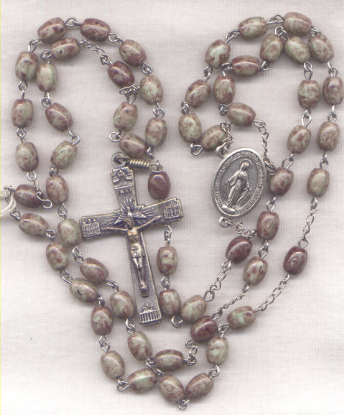 Miraculous Medal Rosary Marbled Brown Glass Bead Men's Rosary GR20