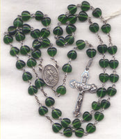 St Patrick Rosary Emerald Green Heart Bead Men's Rosary H01