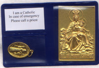 Pocket or Purse Folder Our Lady of Mount Carmel with St Benedict Medal