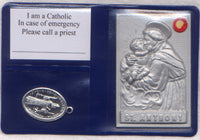 Pocket or Purse Folder St Anthony of Padua with St Benedict Medal