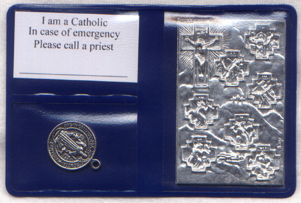 Pocket or Purse Folder Cross in My Pocket with St Benedict Medal IT124