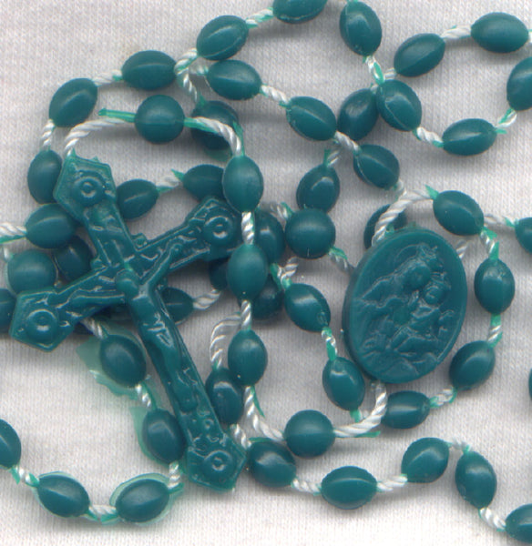 Bulk Buy Econo Rosary Green Acrylic beads fused on cord 10/pkg