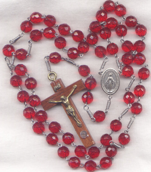Miraculous Medal Rosary Soil Relic Crucifix Big Ruby Red Glass Bead LG03