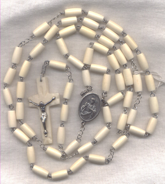 Sacred Heart of Jesus Rosary Natural Cream Bone Bead LG05