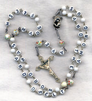 The Word Was Made Flesh Message Rosary Glass Beads M11