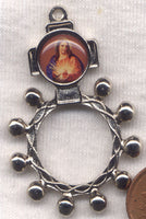 Vintage Sacred Heart of Jesus Metal Pocket Rosary MRP10