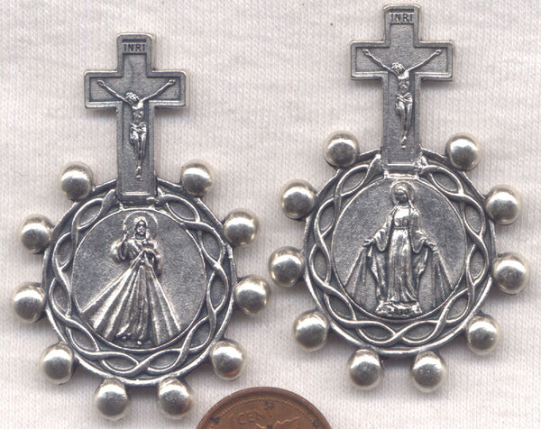 Our Lady of Grace Divine Mercy Metal Pocket Rosary MRP12