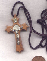 St Benedict Medal Olive Wood Crucifix cord necklace NCL05