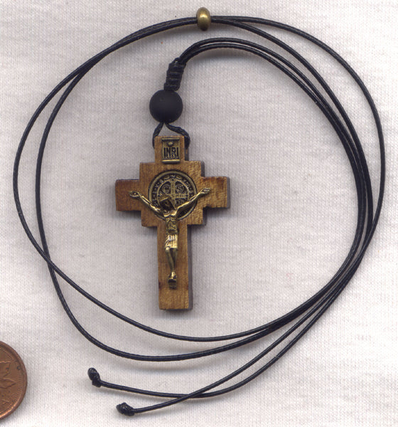 St Benedict Medal Wood Crucifix cord necklace NCK11