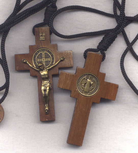 St Benedict Medal Wood Crucifix cord necklace bronze finish NCK16