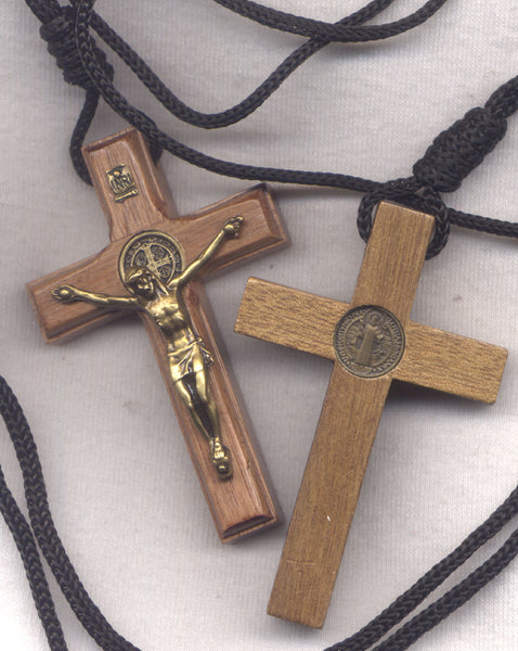 St Benedict Medal Wood Crucifix cord necklace bronze finish NCK17