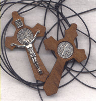 St Benedict Medal Wood Crucifix Cord Necklace NCK22