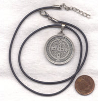 Large St Benedict Medal cord necklace NCK26