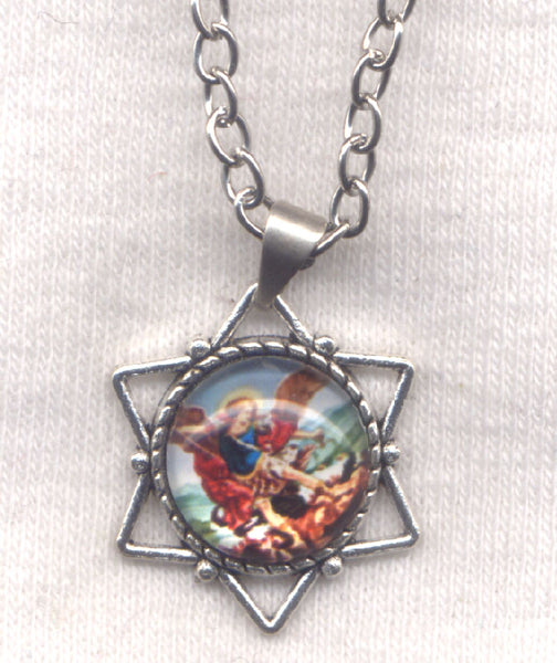 Small Star St Michael the Archangel Medal Chain Necklace NCK30