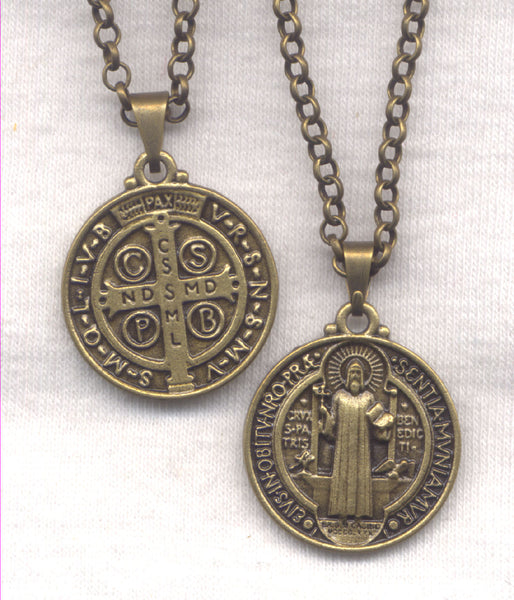 Bronze One Inch St Benedict Medal Chain Necklace NCK34