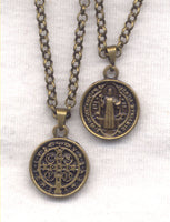 Bronze Small St Benedict Medal Chain Necklace NCK35