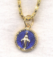 Miraculous Medal Blue Enamel Chain Necklace goldtone NCK38