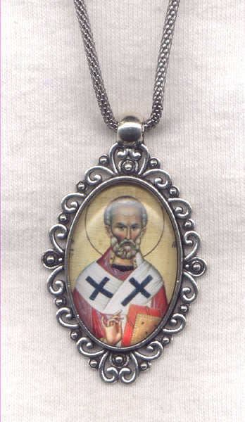 St Athanasius Icon Pendant Chain Necklace NCK47