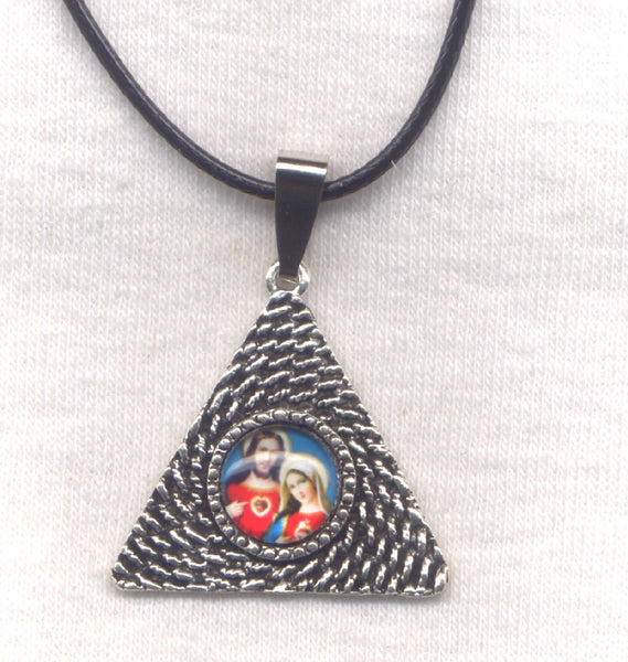 Sacred Heart of Jesus Immaculate Heart of Mary Pendant Cord Necklace NCK55
