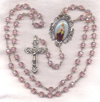 Our Lady of Mount Carmel Pale Pink Double Capped Crystal FanC01