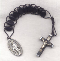 One Decade Pull Rosary Black Wood PL02