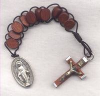 One Decade Pull Rosary Rich Brown Wood PL01