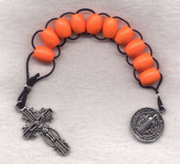 One Decade Pull Rosary Orange Wood Beads PL08