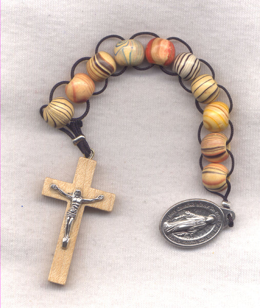 One Decade Pull Rosary Stripey Wood Beads PL10