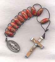 One Decade Pull Rosary Decorative Red and Brown PL11