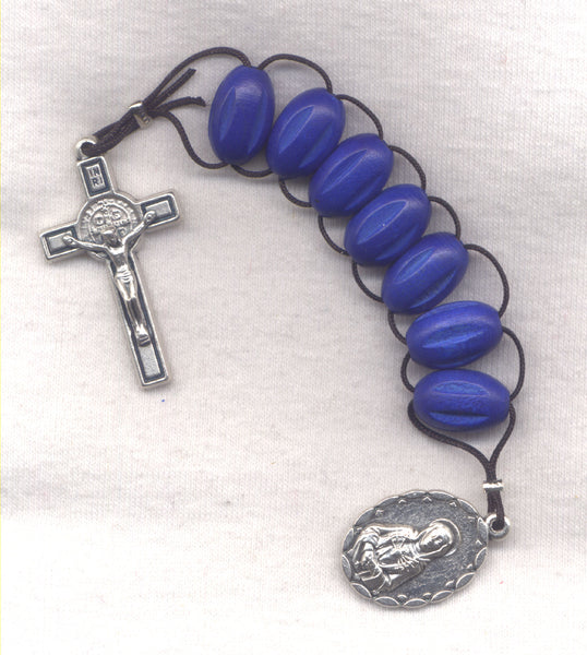 7 Sorrows One Decade Pull Rosary Blue Wood Beads PL14
