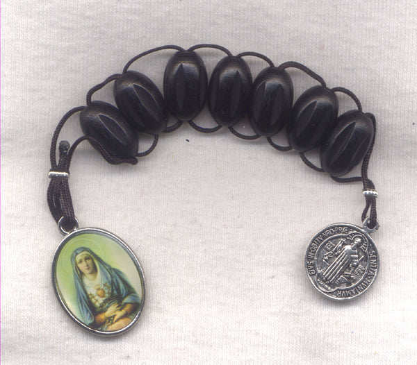 7 Sorrows One Decade Pull Rosary Black Wood Beads PL16