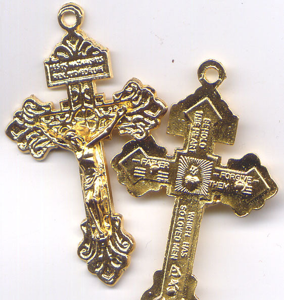 Pardon Crucifix Indulgenced with prayer gold color each RC100